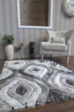 New Approx 6x4Ft 120x160CM Tear Drop 3D Rugs Nice Top Quality Grey/Cream/Silver